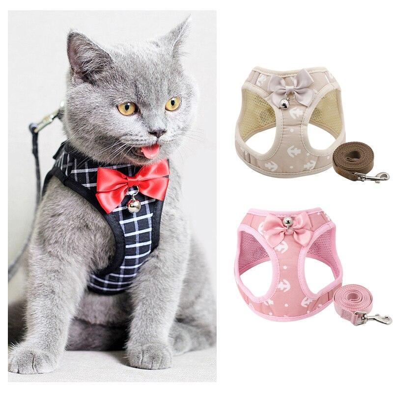 Модный комплект с ремнем и поводком для кошки с якорем, регулируемый нагрудный ремень, жилет с лента с колокольчиком, ходовой поводок с бант...