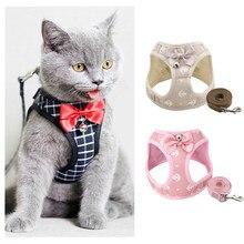 Moda âncora gato arnês e trela conjunto ajustável cinta no peito colete com sino fita arco andando chumbo para gatinho filhote de cachorro cães