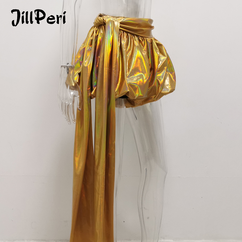 JillPeri Fashion Golden Metallic Drop Sexy Shorts Luxury Sparkle Chic Lantern Shorts Street Club Party Wear Puff Bottom Shorts