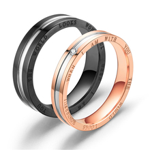 Stylish Titanium Steel Couple Engraved With Zircon-Inlaid Black And Rose Gold Rings As Holiday Wedding Gifts For Men And Women stylish women s sandals with flowers and black colour design