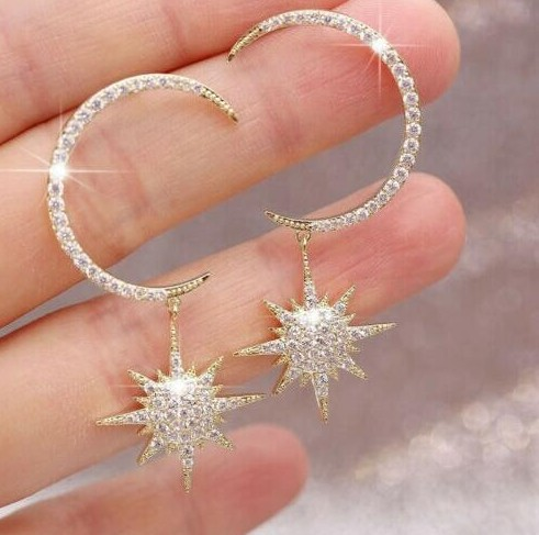 2019 Fashion Korean Version Of The New Earrings Xingyue Exaggerated Temperament Crystal Earrings Elegant Women's Earrings