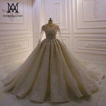 Abendkleider Lange Mouwen Kant Applicaties Crystal Saudi Arabische Glanzende Trouwjurk