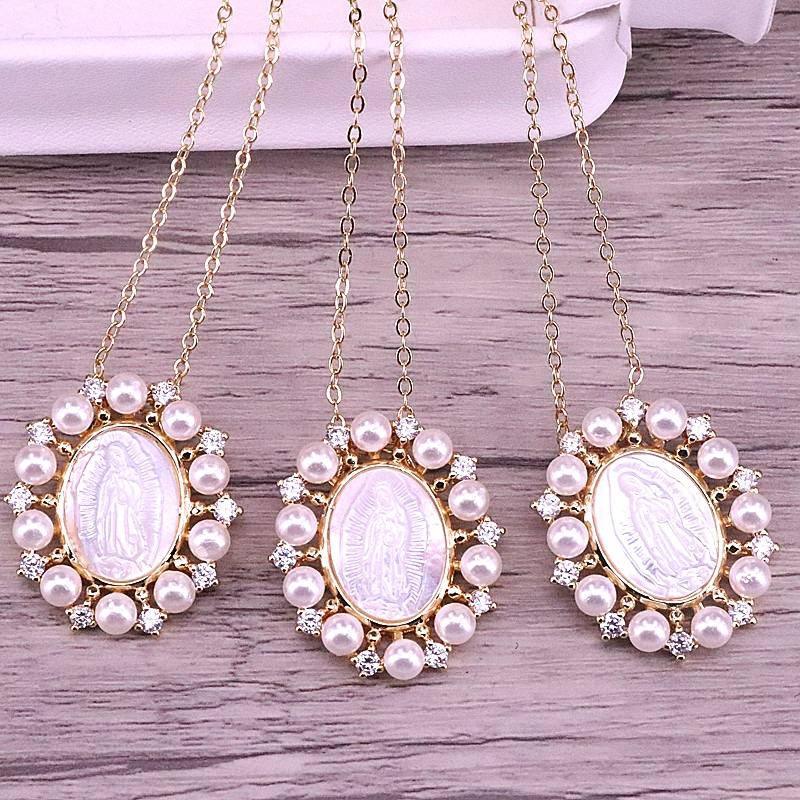 3Pcs Gold Plated Rainbow CZ Micro Pave Virgin Of Mary Charm Shell Pendant for Necklace Oval Shaped Religious Charms,