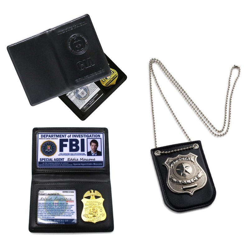 Dress Up Cosplay Pretend Play Police-//CIA//FBI Badge with Chain and Belt Clip US