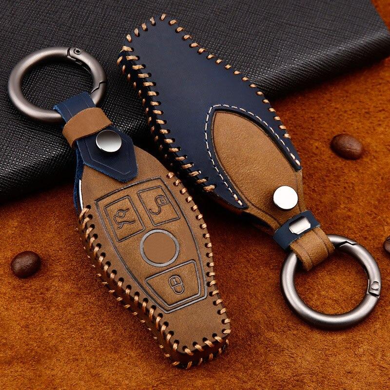 Couro chave do carro capa auto remoto chave caso escudo protetor para mercedes benz w203 w210 w204 w212 w213 w176 glc cla clk