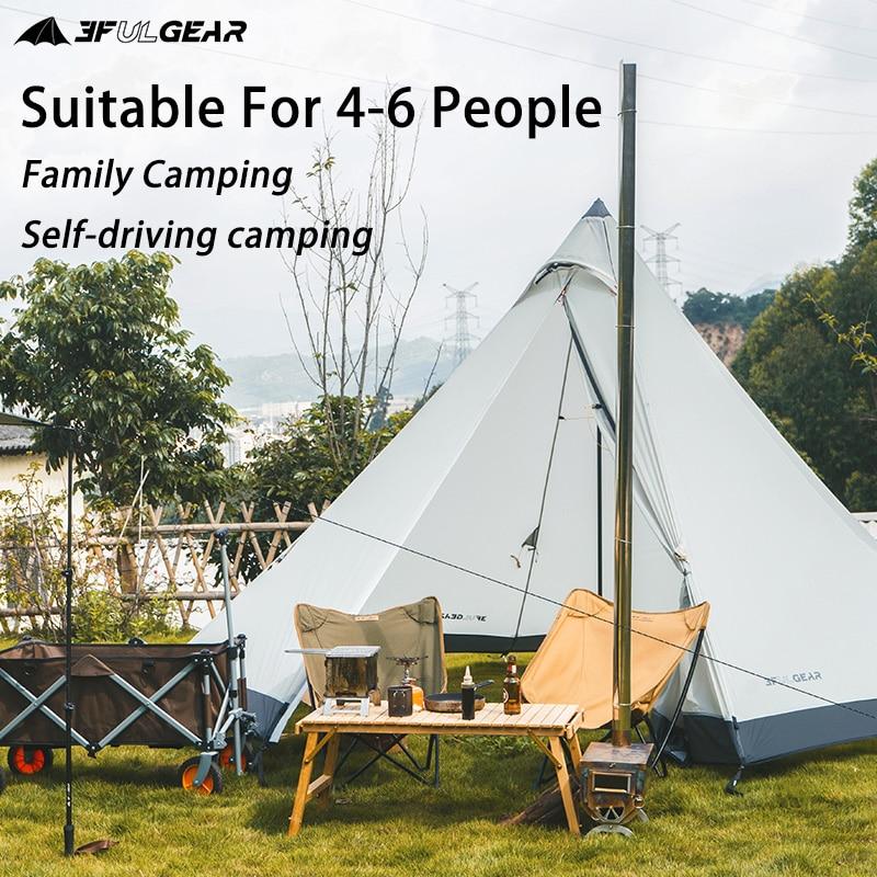 3F UL ENGRENAGE Tente Pyramide 4-6 personnes tente de Camping En Plein Air Grande Coupe-Vent Tente Familiale Étanche Tentes Glamping BuLuo