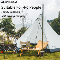3F UL GEAR Pyramid Tent 4-6 person hot tent Outdoor Camping Large Windproof Family Tent Waterproof Glamping Tents BuLuo