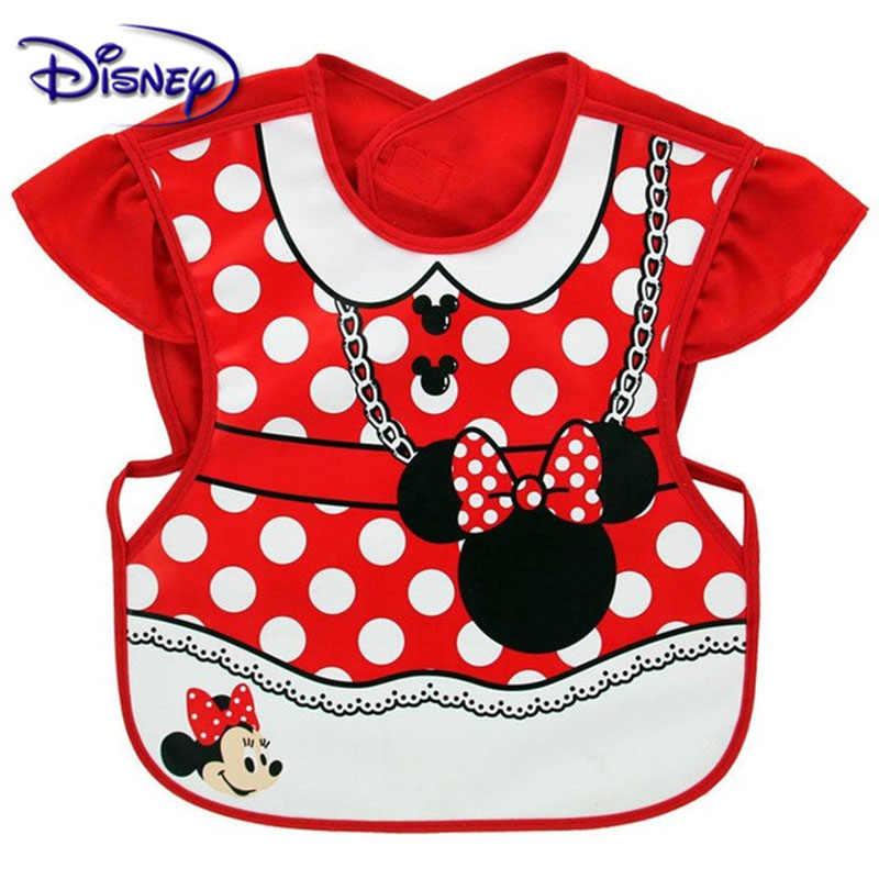 Disney Tahan Air Oto Bayi Lengan Pendek Katun Minnie Bib Bersendawa Pakaian Baberos Barang Bayi Disney Aksesori