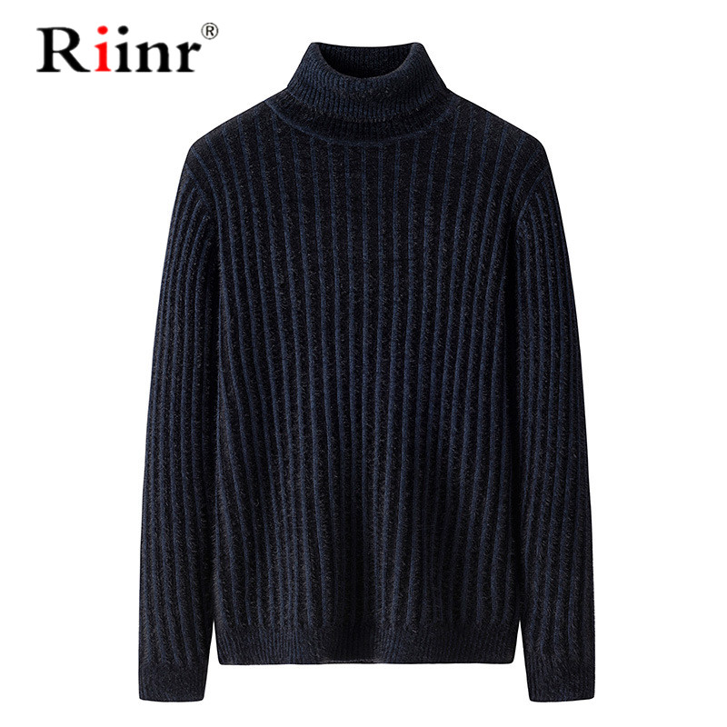 Riinr 2019 Men Sweaters New Business Casual Men's Self-cultivation High-Neck Pullover Tide Knitted Sweater Mens Sweaters