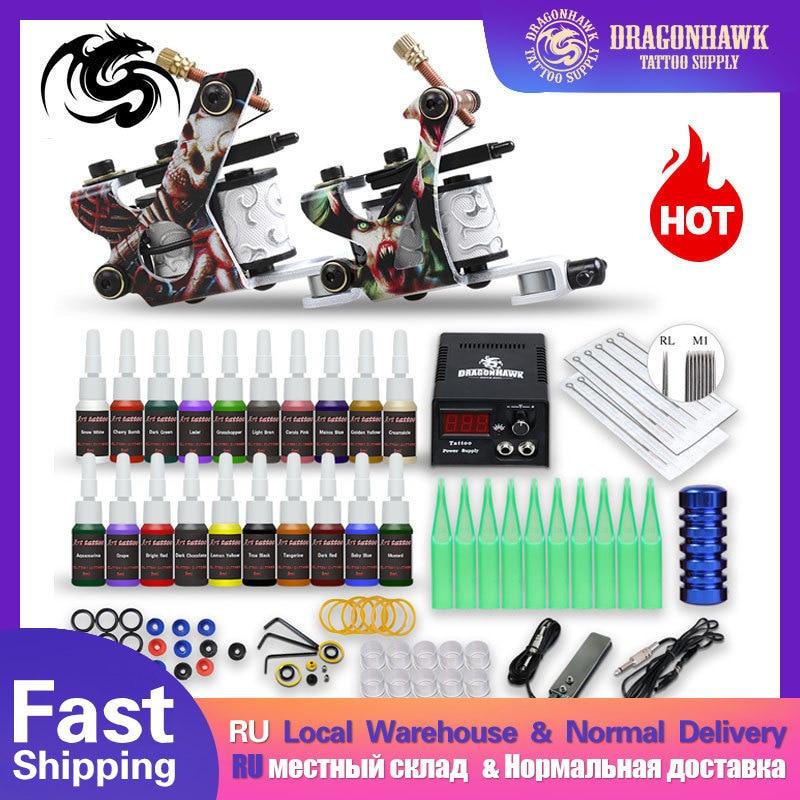 Beginner Tattoo Kit Supplies Equipment Set Coils Machine Guns 20 Color Ink Needle Power Tip Grip