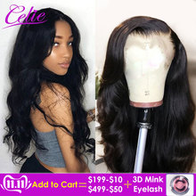 Celie Wigs Lace-Frontal Human-Hair Body-Wave 250-Density Pre-Plucked Remy Brazilian 360