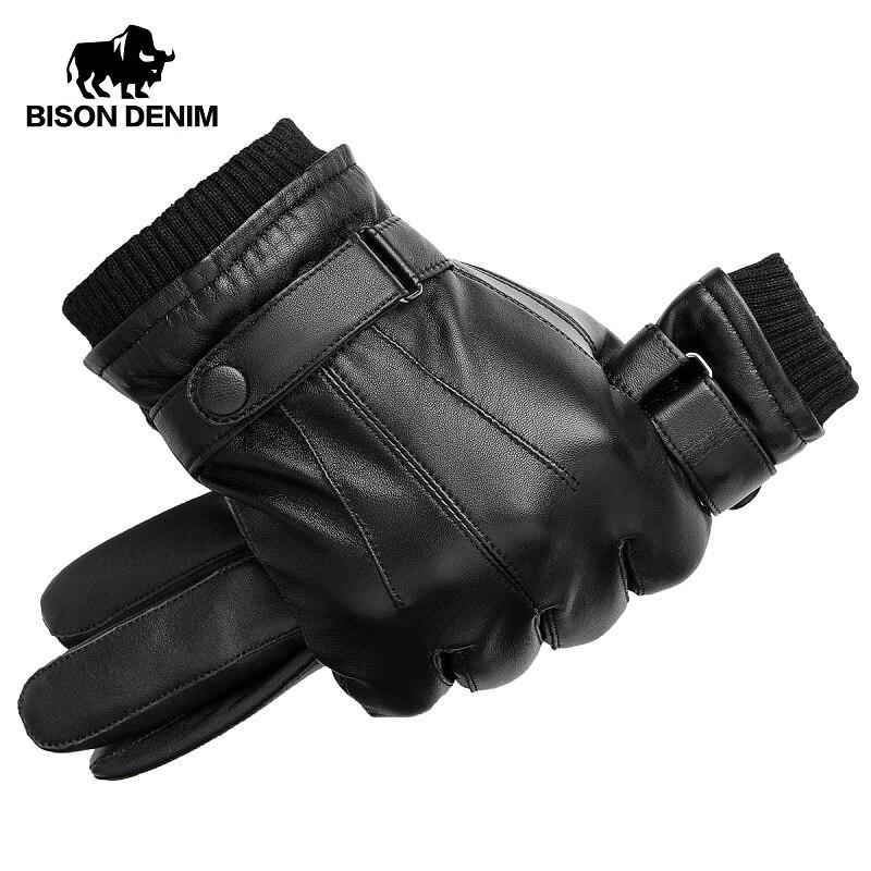 BISON DENIM Männer Echtem Schaffell Leder Handschuhe Herbst Winter Warm Touch Screen Volle Finger Schwarz Handschuhe Hohe Qualität S019