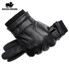 BISON DENIM Men Genuine Sheepskin Leather Gloves Autumn Winter Warm Touch Screen Full Finger Black Gloves High Quality S019 cheap Adult Genuine Leather Solid Elbow Gloves Mittens Fashion M L XL 180*30cm 64 Polyester+ 36 Viscose