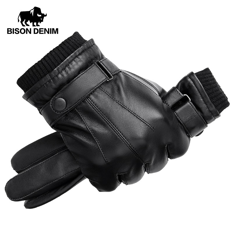 BISON DENIM Men Genuine Sheepskin Leather Gloves Autumn Winter Warm Touch Screen Full Finger Black Gloves High Quality S019