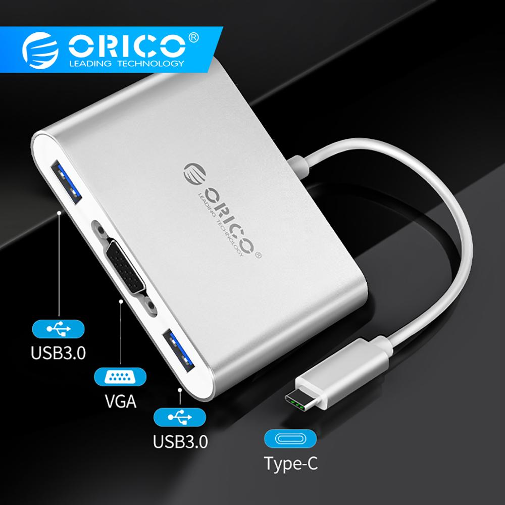 ORICO Aluminum USB C HUB Type-C To HDMI/VGA/USB3.0/RJ45/SD TF Card Reader PD Charging Adapter For Laptop Macbook Accessories