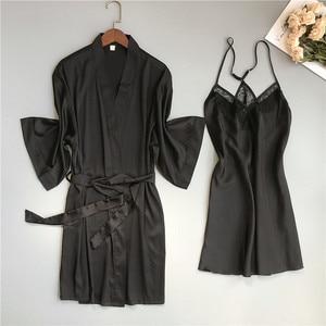 Image 5 - 2019 primavera verão feminino cetim robe & vestido define sexy rendas sleep lounge sem mangas sil nightwear roupão + noite vestido almofadas no peito