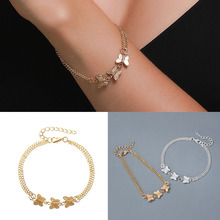 Fashion Multilayer Three Butterfly Bracelets for Women Initial Bracelet Gold Silver Color Friendship Bracelets Femme Jewelry janeyacy vintage anchor bracelet pulsera hombres popular leather bracelets men fashion multilayer bracelets women jewelry party