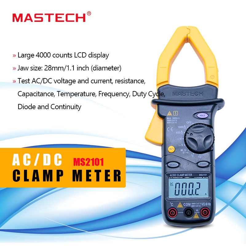 <font><b>MASTECH</b></font> <font><b>MS2101</b></font> AC/DC 1000A Digital Clamp Meter DMM Hz/C clamp meter measured capacitance frequency temperature image