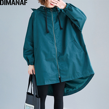 купить DIMANAF Plus Size Women Jackets Coats Winter Autumn Outerwear Fashion Streetwear Zipper Oversize Female Loose Hooded Clothes New дешево
