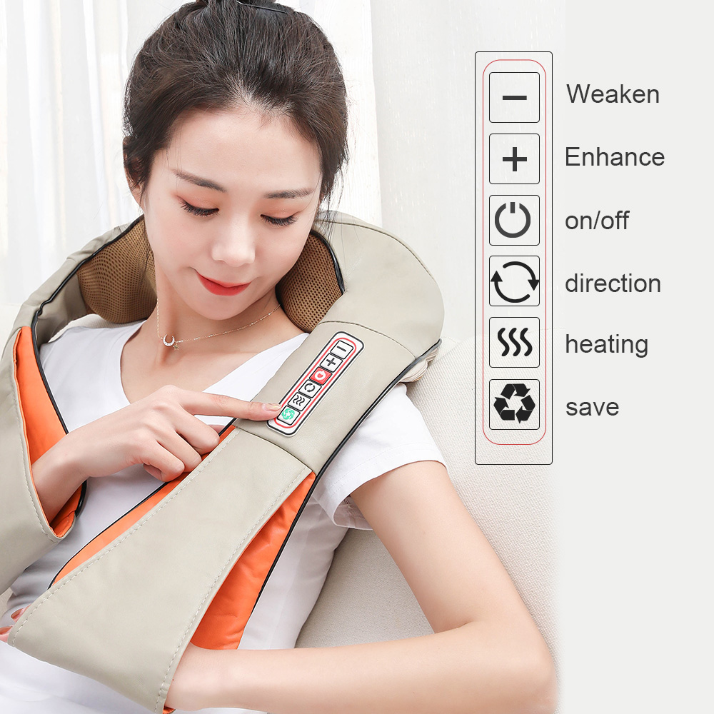 U-образный Электрический шиацу-массажер для спины, плеч, шеи, многофункциональный массажер для автомобиля/дома, массажер с инфракрасным наг...