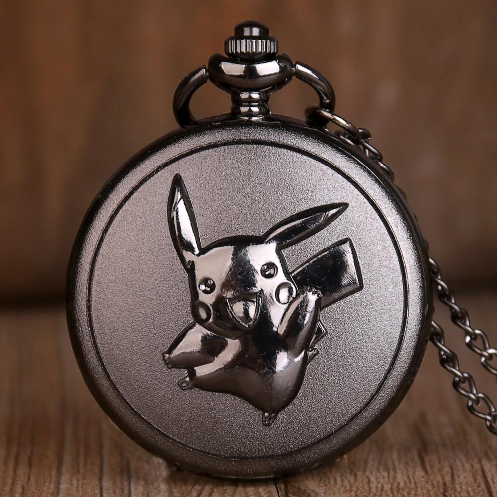 New Pikachu Black Quartz Pocket Watches Mens Womens Necklace Chain Pendant Analog Pocket Watches Gifts For Kids Toy Ball Pokemon