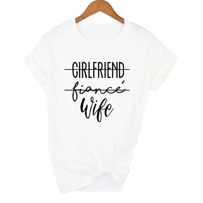 CGirlfriend Fiance Wife Women T-Shirt Engagement Gift Fiance Shirt Bachelorette Party Tops Trendy Casual Tshirts Couples Dress