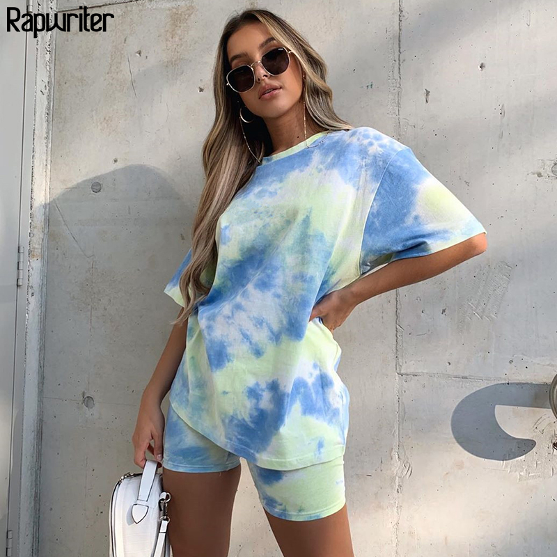 Rapwriter Tie Dye Print Summer Tshirt And Shorts Two Piece Set Women Oversized Tshirt Slim Shorts Outfits Femme Biker Track Suit