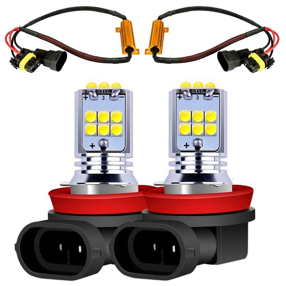 2 pièces H8 H11 1800LM ampoule LED voiture Anti-brouillard feux de conduite automatique feu de brouillard avant avec résistance de charge de décodeur Canbus sans erreur