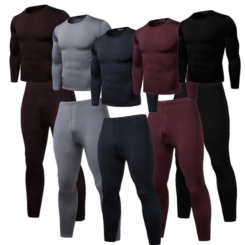 New Arrival Mens 2 Pc Thermal Underware Fleece Thermos Long Set Wool Blend Thermal Underwear Black Warm New Plus Size L-3XL