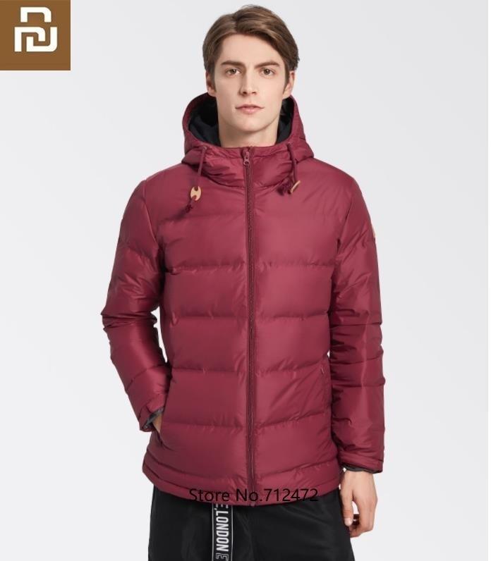 Youpin Men Fashion Thickening Hooded Down Jacket 80% Gray Duck Down Windproof Waterproof Luxury Warm Coat Outdoor Windbreaker