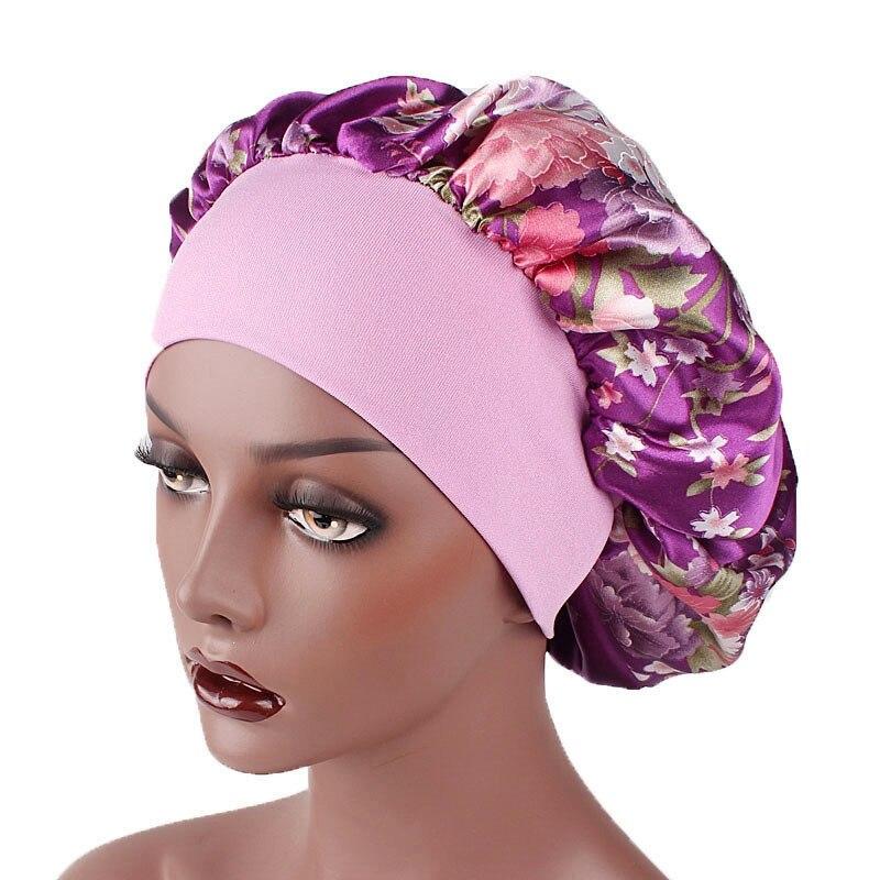 Новые взрослые фланелевые пижамы унисекс атласная ночной колпак широкополая шляпа с цветочным принтом для мужчин и женщин, чепчик для сна н...