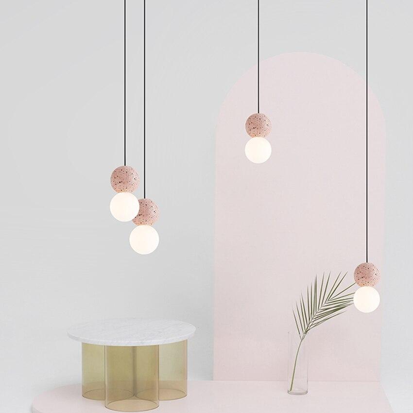 Nordic LED Terrazzo Glass Pendant Lights Lighting Modern Indoor Decor Lamp CafeThe Bar Hanging Lamp Restaurant Bedroom Luminaire
