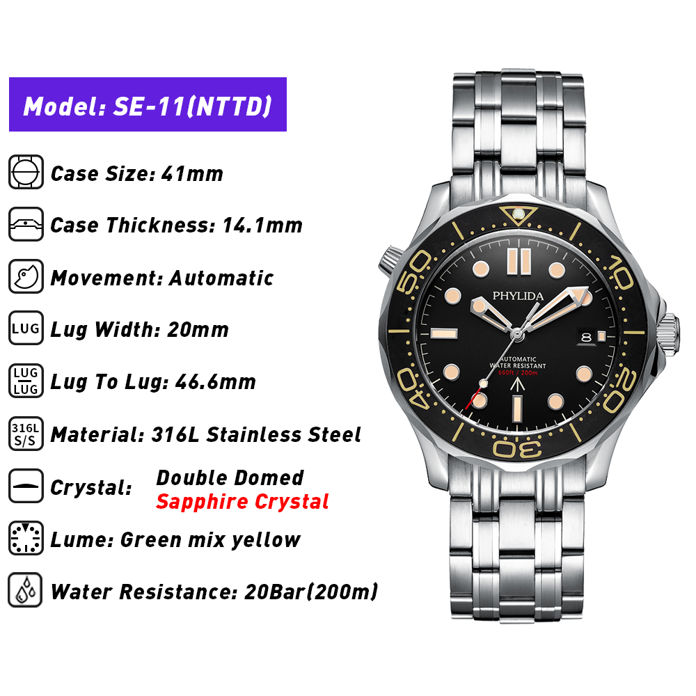 PHYLIDA Black Dial MIYOTA or PT5000 Automatic Watch DIVER NTTD Style Sapphire Crystal Solid Bracelet Waterproof 200M 2