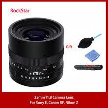 Rockstar 35mm F1.8 Macro DSLR Camera Lens For Panasonic/Sigma/Leica L Sony E Nikon Z Canon RF Mount Fixed Focus Photography Lens