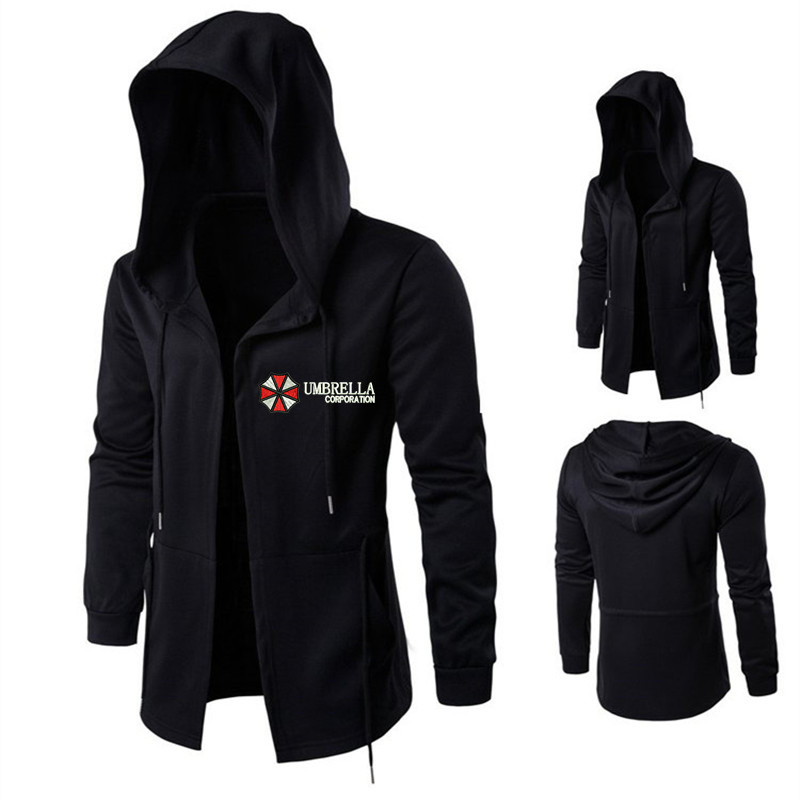 Resident Evil Umbrella MEN'S Coat Long Hooded Jacket Embroidered Stylish Cloak Casual Coat MEN'S Hoodie
