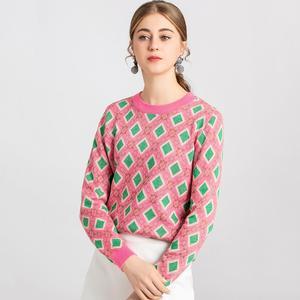 Image 4 - ヴィンテージ甘い多色糸ニットセーター女性 2020 新ファッション o ネック長袖女性プルオーバーカジュアルプルファム C 226
