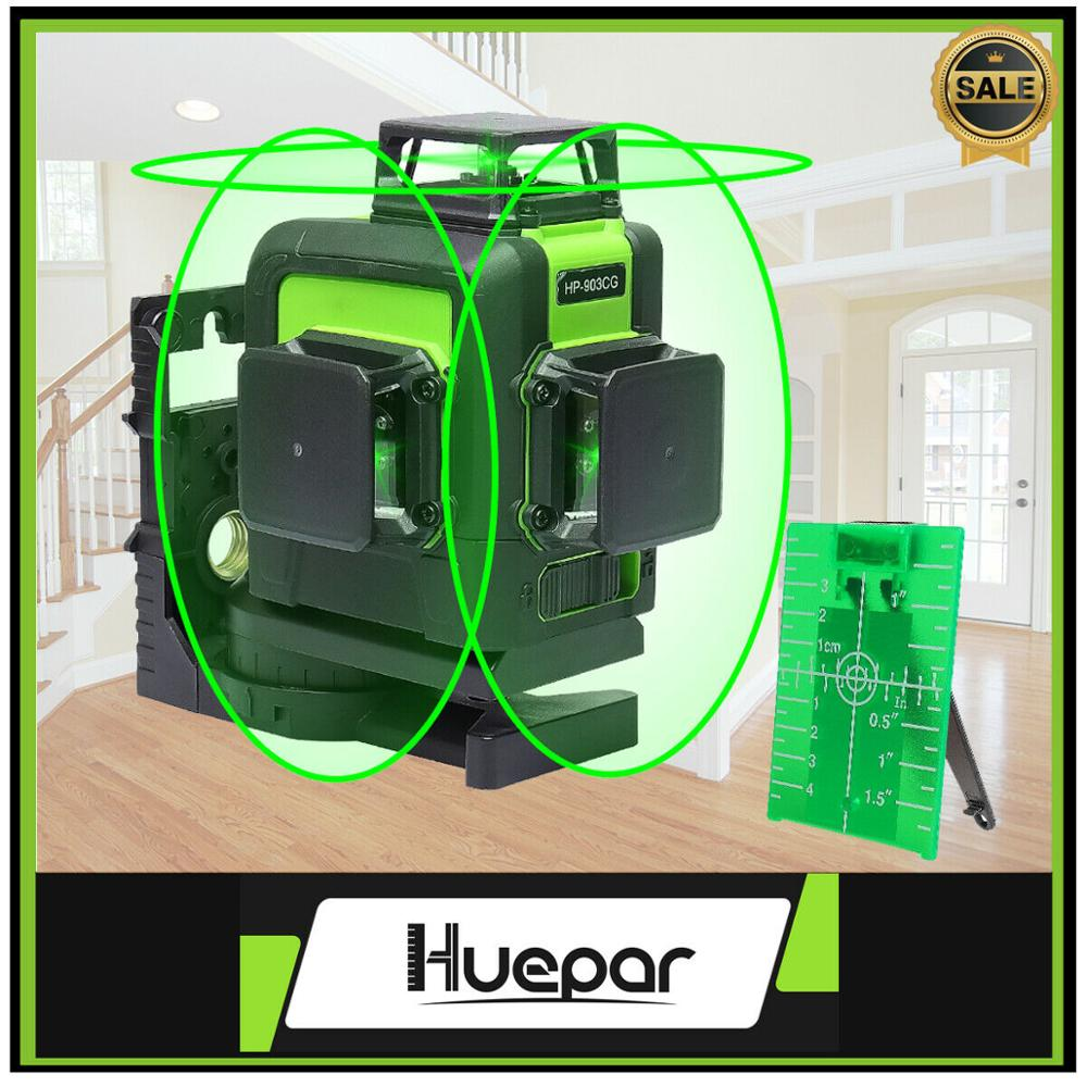 Huepar 12 Lines 3D Cross Line Laser Level with Orsam Green Laser Beam Self Leveling 360 Vertical and Horizontal Cross Powerful|Instrument Parts & Accessories| |  - title=