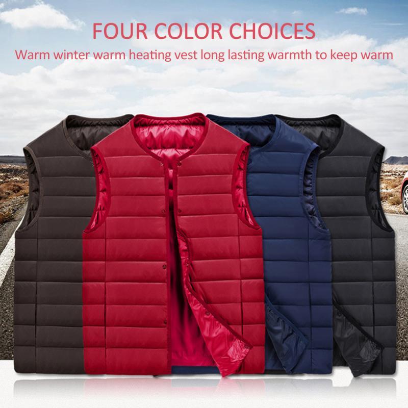 Waterproof Insulate Waistcoat Heated Jacket Heating Vest USB Smart Dual Control Fever Standing Collar Mountaineering Ski Vest