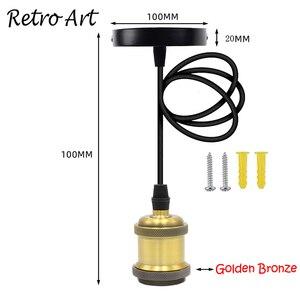 Image 2 - Prosty wisiorek zestaw oświetleniowy E27 uchwyt lampy z przewód tekstylny drutu i sufit wstał zestaw przewodów do Lamp