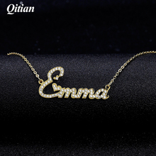 Qitian Crystal Pendant Necklace for Women  Iced Out Zirconia Necklaces Women Personalized Necklace with Names Initial Letters
