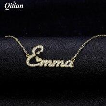 Qitian kryształowy naszyjnik dla kobiet Iced Out cyrkon naszyjniki kobiety spersonalizowany naszyjnik z imionami inicjały