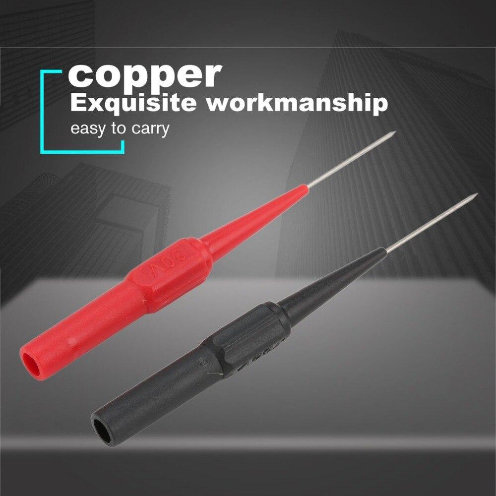 2 PCS Cuivre Sonde En Acier Inoxydable 0.7mm Aiguille 4mm Jack Isolation Aiguille Piercing Aiguille Pour Multim/ètre Outil Noir//Rouge