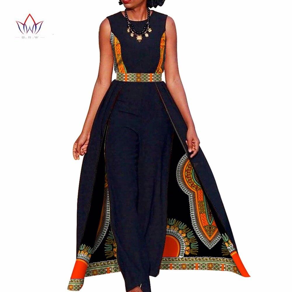 African Design Bazin Elegant Womens Rompers Jumpsuit Sleeveless Rompers Jumpsuit Long Dashiki Pants
