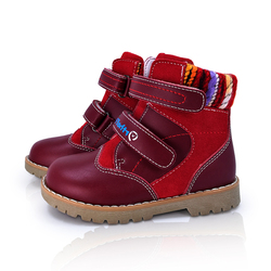 Baby Genuine Leather Orthopedic Shoes For Kids Children Girls Winter Warm Snow Boots Fashion New Red Fur Ankle Boots