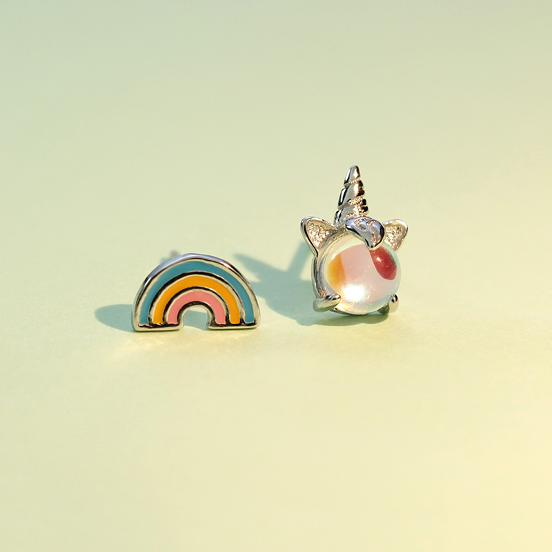 ElfoPlataSi 100 925 Solid Real Sterling Silver Unicorn Rainbow Stud Earring For Women Girl Gift Fine Jewelry Brincos ED131 in Stud Earrings from Jewelry Accessories
