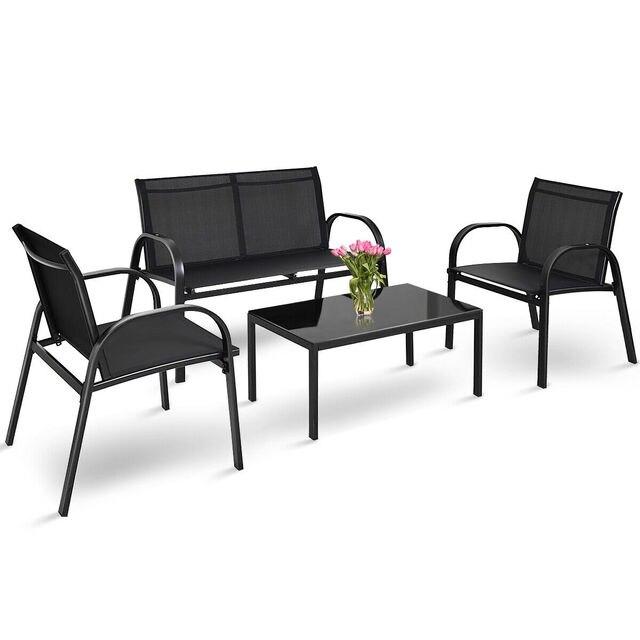4 PCS Patio Furniture Coffee Table Set 1