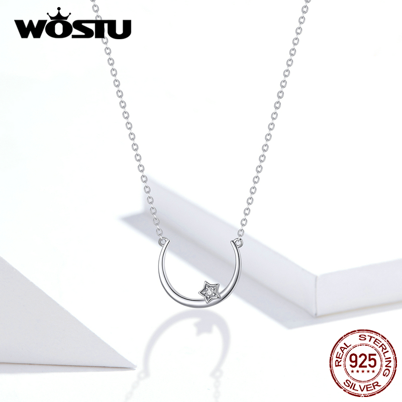WOSTU Genuine 925 Sterling Silver Moon Star Necklace Elegant Long Link Chain For Women Wedding Lover Lucky Jewelry FIN382