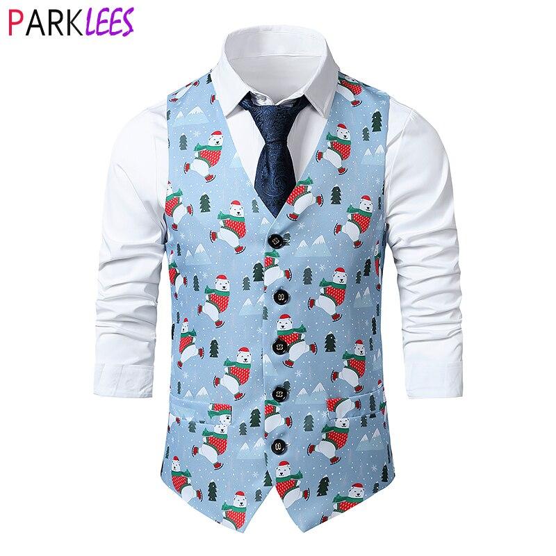 Christmas Bear Print Christmas Vest Male 2020 Brand Slim Fit Dress Waistcoat Men Xmas Party Stage Prom Vests Men Cosplay Costume
