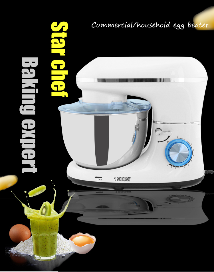 1300W 5.5L Stainless Steel Bowl 10-speed Kitchen Food Stand Mixer Cream Egg Whisk Blender Cake Dough Bread Mixer Maker Machine
