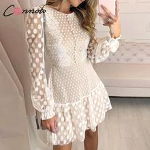 Conmoto エレガントホワイトパーティードレス女性秋冬ショートヴィンテージポルカドットプリントレースプラスサイズドレス女性 vestidos